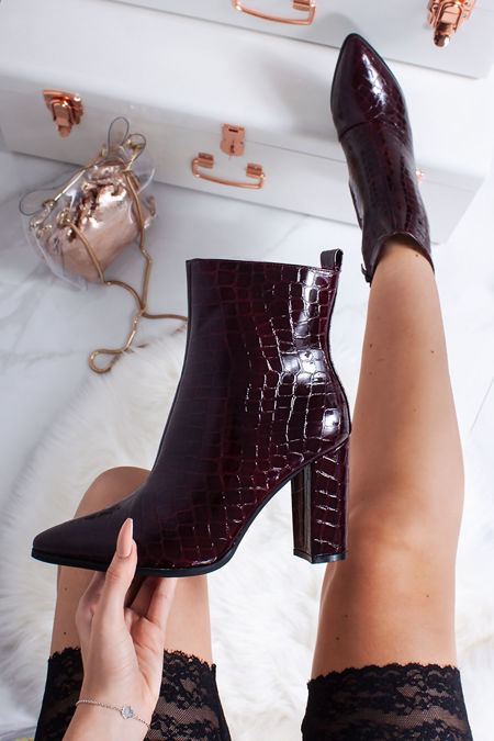 VIVIE Wine Croc Print Pointed Toe Heeled Ankle Boots