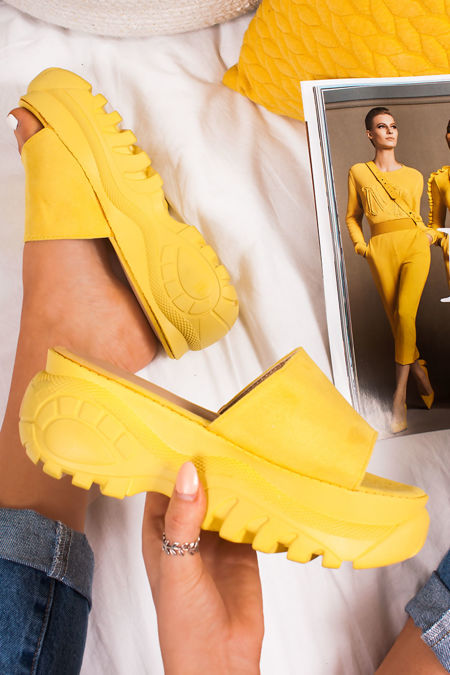 MARNIE Yellow Faux Suede Chunky Sole Flatform Sliders