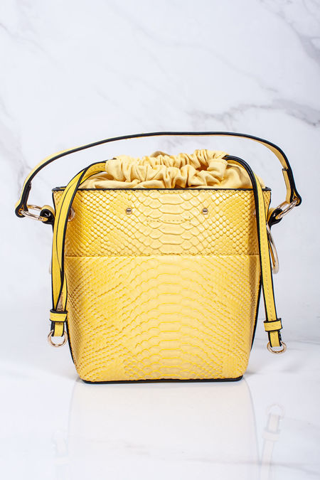 PENNY Yellow Croc Print Bucket Bag