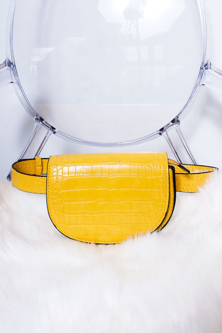 ABIGAIL Yellow Croc Print Faux Leather Belt Bag