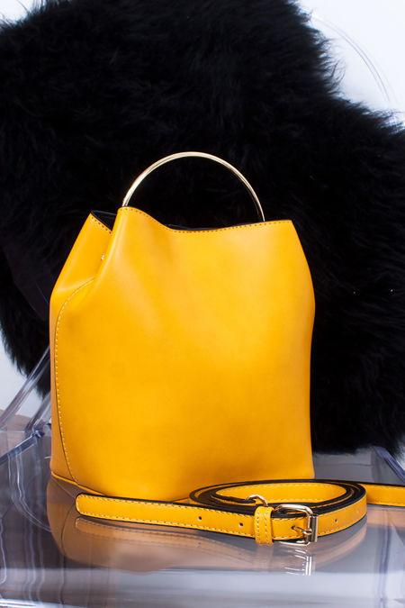 ELENA Mustard Hoop Handle Bucket Bag