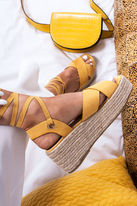 KATE Yellow Cross Strap Wrap Up Espadrille Flatforms