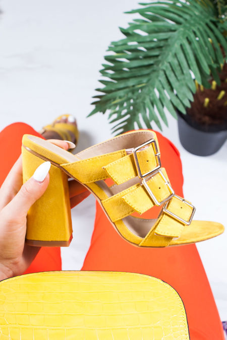 LARISA Yellow Buckle Strap Heeled Mules