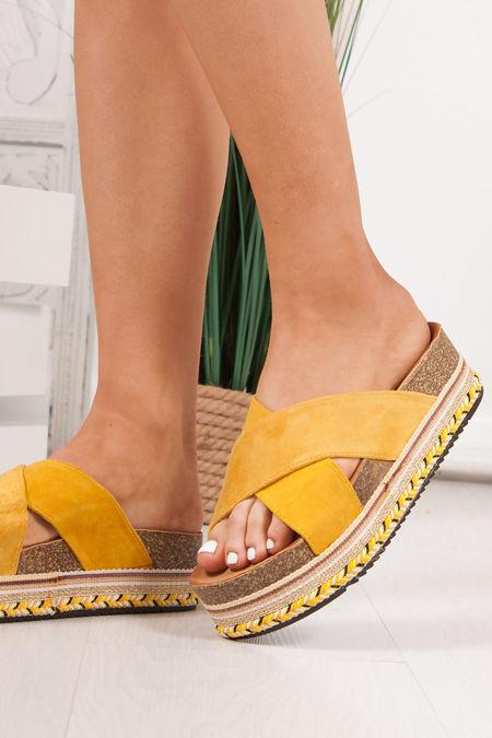 ROXIE Yellow Cross Strap Aztec Flatform Sandals