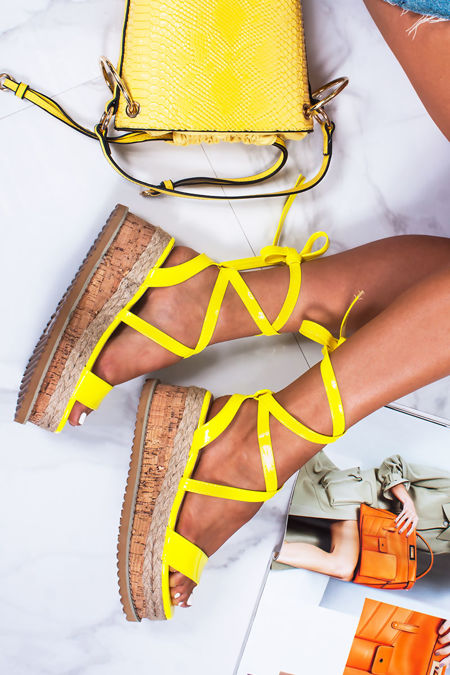 INDIGO Neon Yellow Wrap Up Espadrille Flatforms