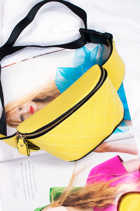 RILEY Yellow Zip Top Bum Bag