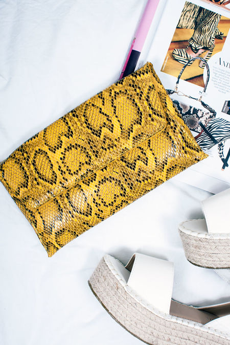 EBONY Yellow Snake Print Envelope Clutch Bag