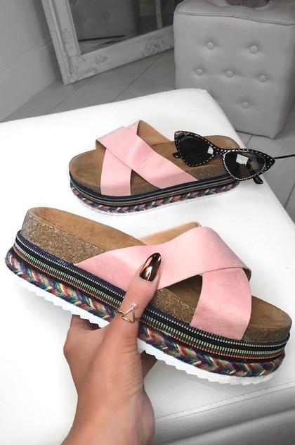 ELLA Pink Cross Strap Aztec Flatforms