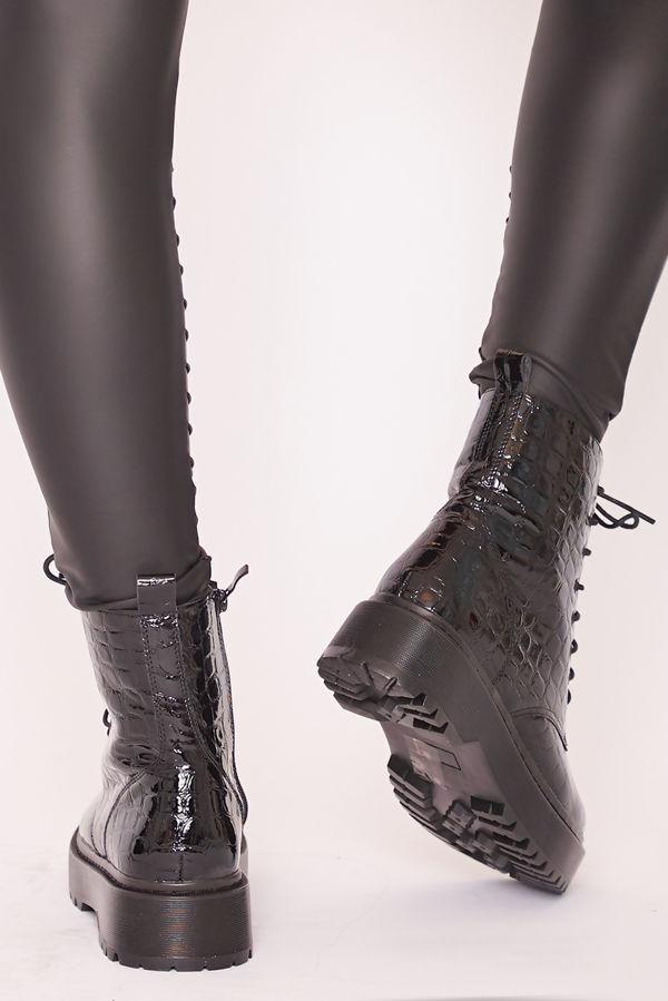 SOFIA Black Croc Chunky Platform Lace Up Ankle Boots