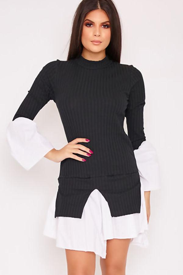 MARINA Black High Neck Bell Sleeve Ribbed Shirt Dress
