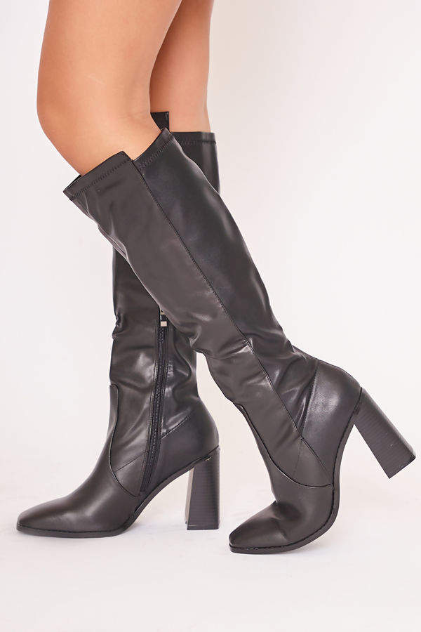 LAURY Black Block Heeled Knee High Boots