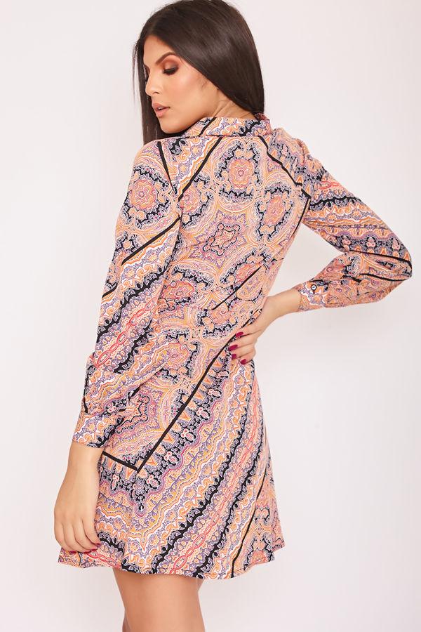 JOLENE Scarf Print Shirt Dress