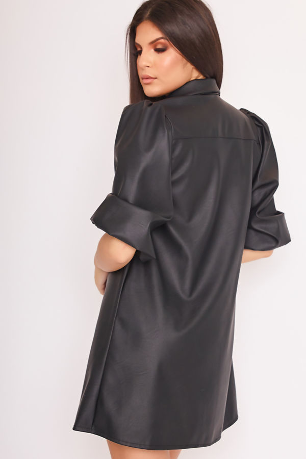 TIANA Black Faux Leather Puff Sleeve Shirt Dress