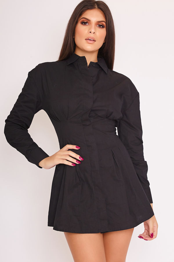 PIA Black Darted Tight Waist Shirt Dress