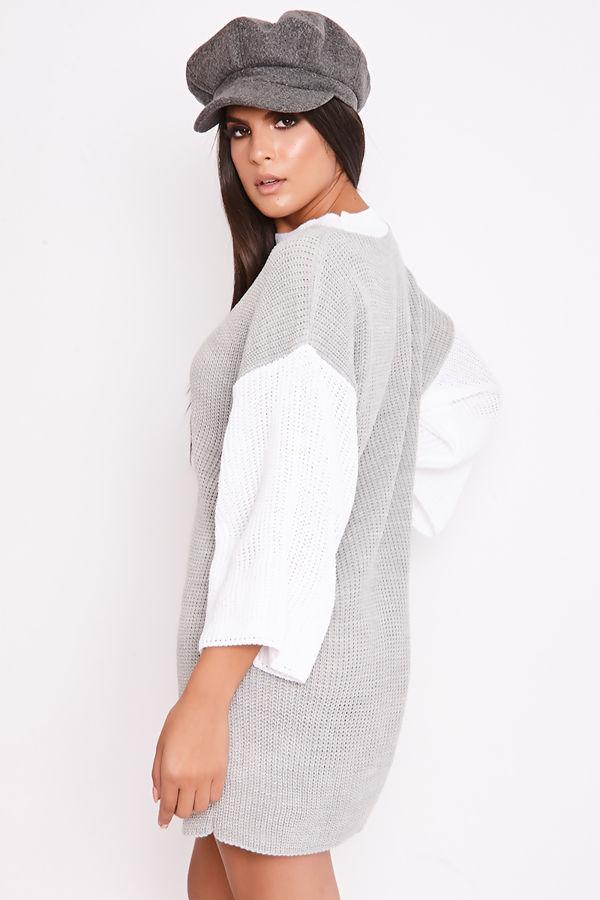 ADAH Grey Knitted High Neck Jumper Dress