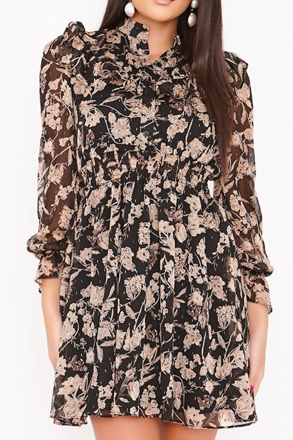 KLAUDIA Black Floral Print Chiffon Frill Dress