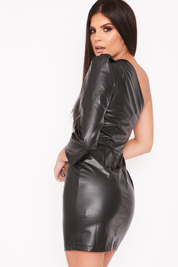 HARPER Black Faux Leather One Shoulder Dress