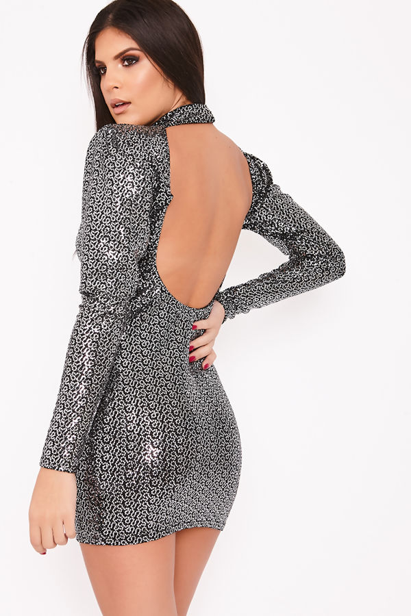 VALENTINA Black Sequin High Neck Blackless Bodycon Dress