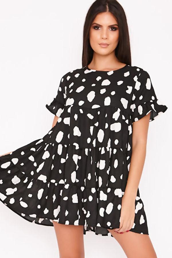 ANDIE Black Dalmatian Tiered Frill Smock Dress