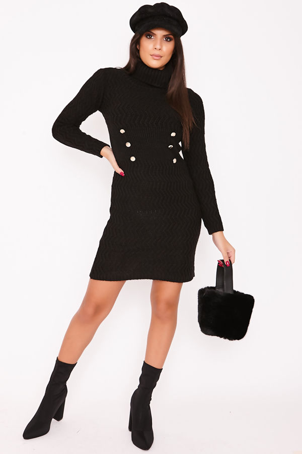 KIMMIE Black Knitted Roll Neck Button Detail Jumper Dress