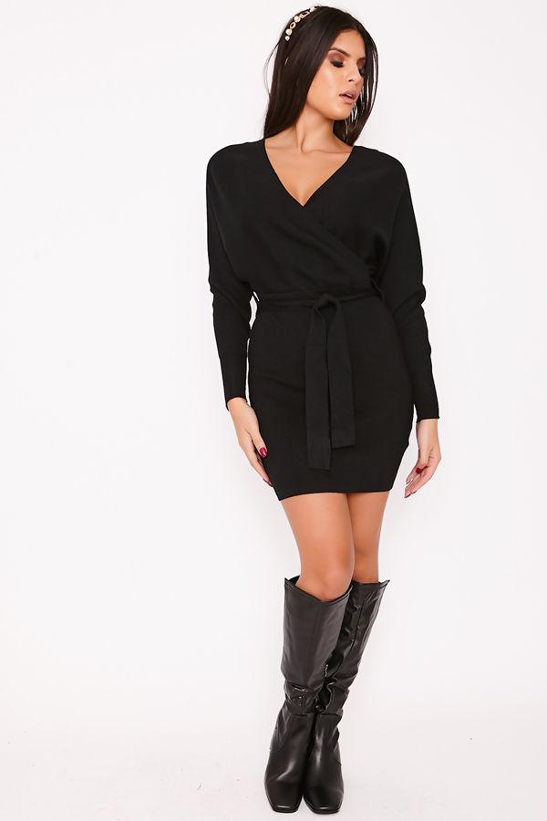 TALLIE Black V Neck Ribbed Belted Wrap Dress