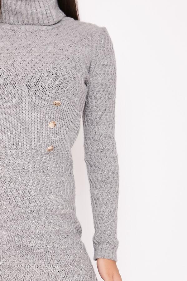 KIMMIE Grey Knitted Roll Neck Button Detail Jumper Dress