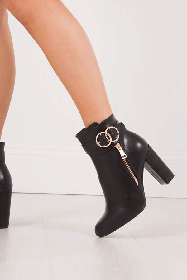 AMALIA Black Block Heel Ankle Boot With Gold Emblem