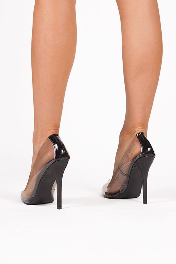 ANYA Black Clear Court Heels