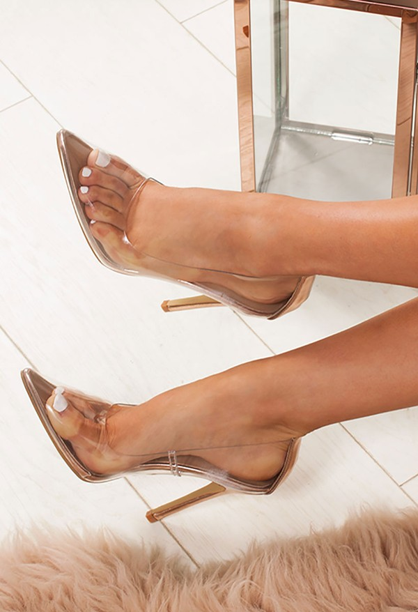 ANYA Rose Gold Clear Court Heels