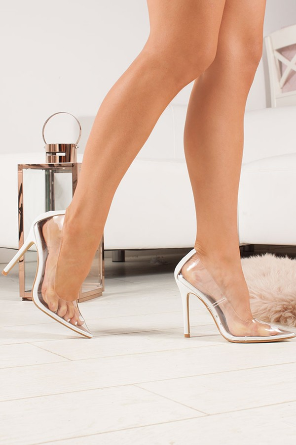 ANYA White Clear Court Heels