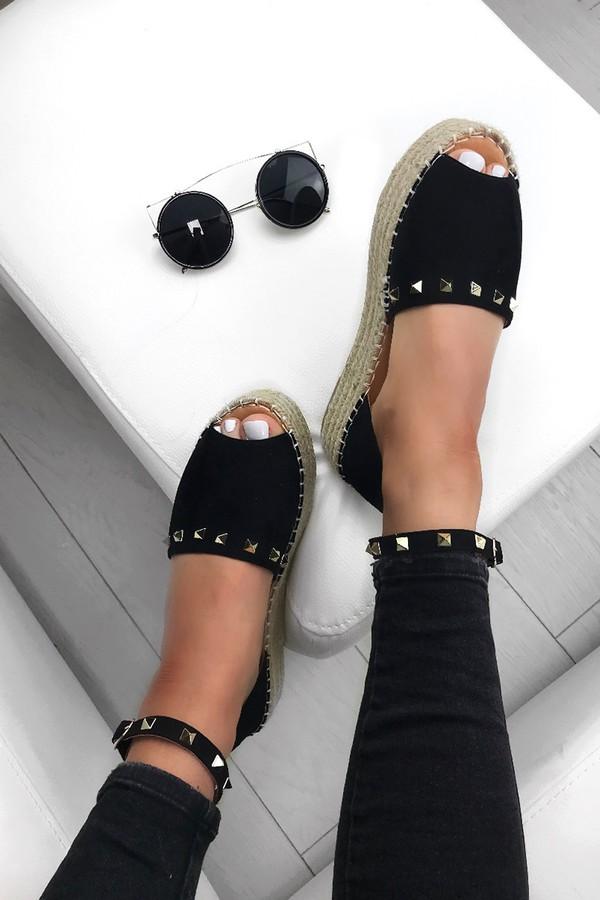 ARIA Black Stud Espadrille Flatforms