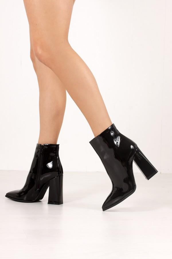 ATHENA Black Metallic Block Heel Ankle Boots