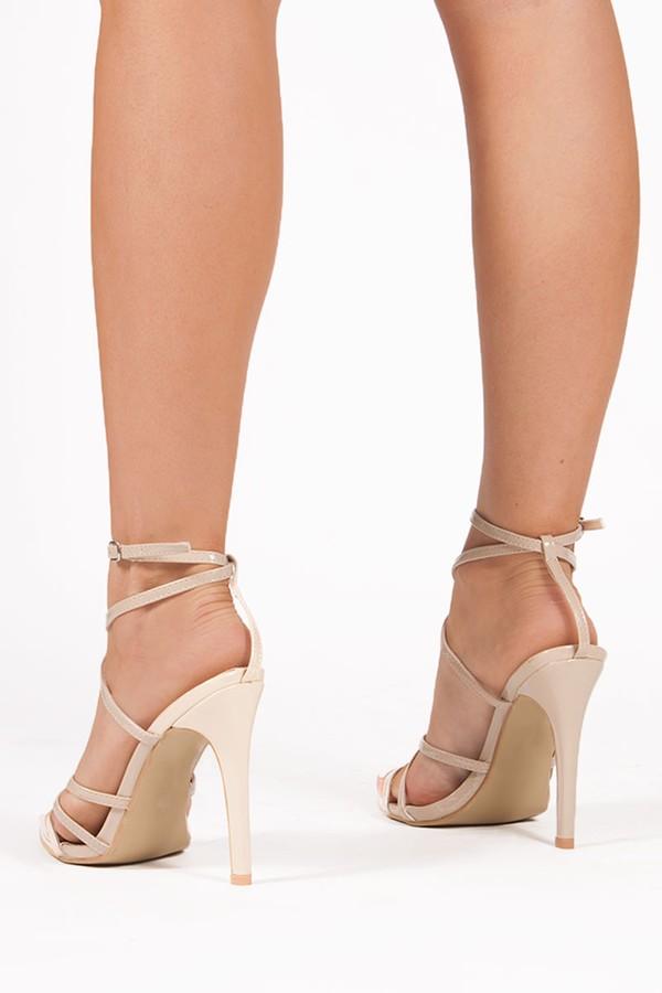 AURORA Nude Pointy Wrap Up Heels
