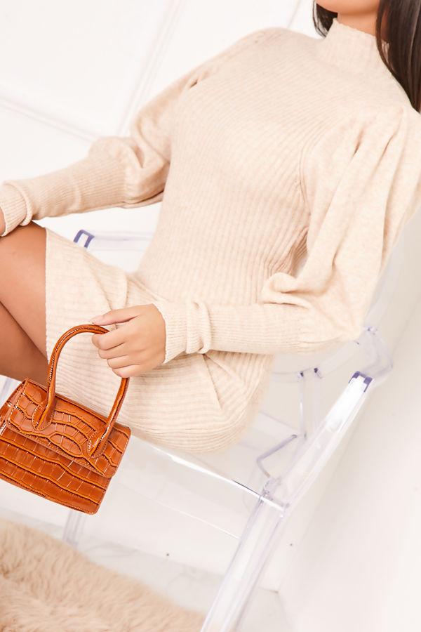 FREDA Beige Ribbed Puff Sleeve Knitted Jumper Dress