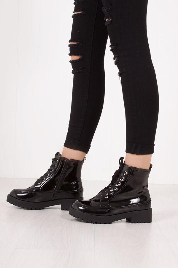 ZARINA Black Faux Patent Leather Biker Boots