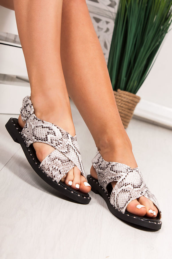 5d02830ac2c EMMIE White Snake Print Cross Strap Stud Sandals