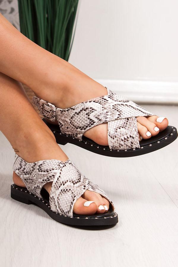 EMMIE White Snake Print Cross Strap Stud Sandals