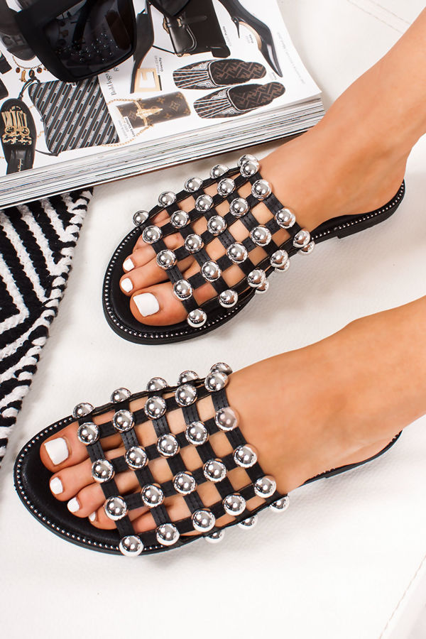 e9410b36a67dbb VENUS Black Stud Slider Sandals With Silver Detail