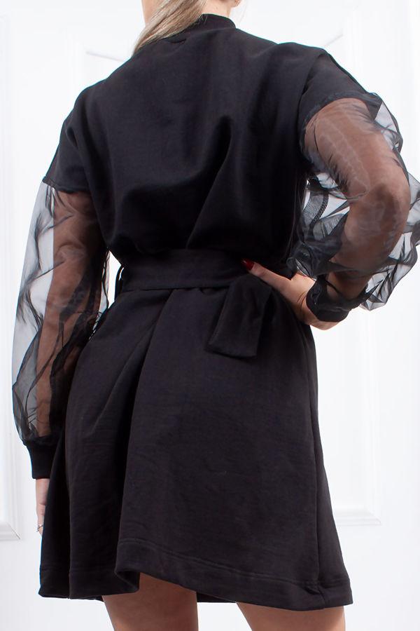 GISELLE Black Sheer Sleeve Belted Jumper Dress