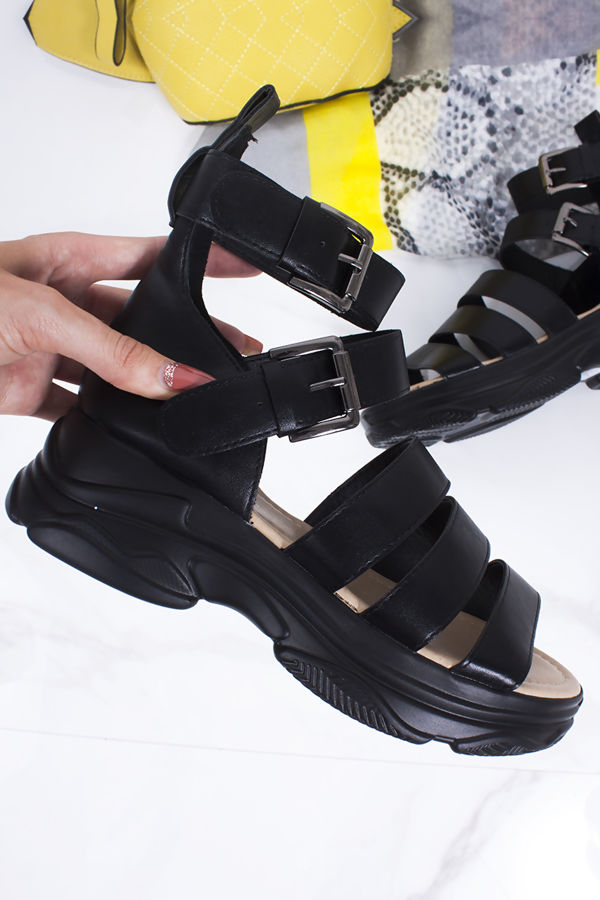 PHOEBE Black Strappy Chunky Sandals