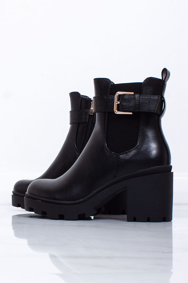 MELISSA Black Buckle Strap Chunky Block Heel Boots