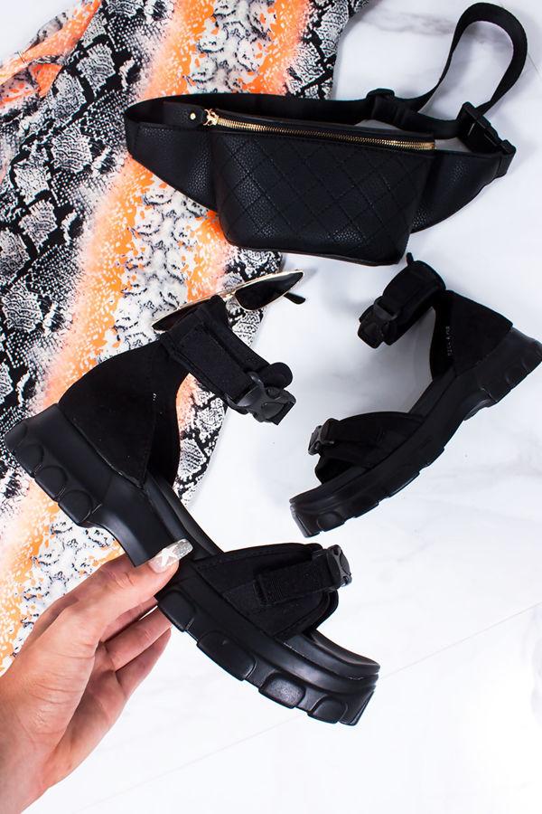 SABRINA Black Chunky Sports Sandals
