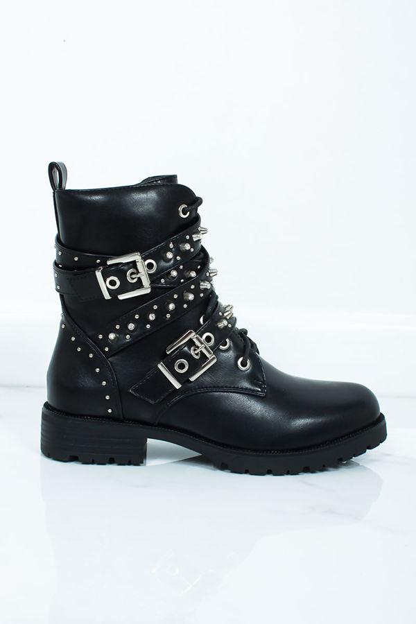 ZARA Black Stud Buckle Strap Biker Boots
