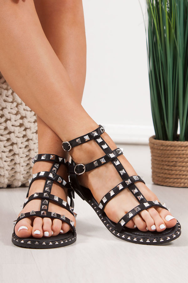SHANICE Black Cage Silver Stud Sandals