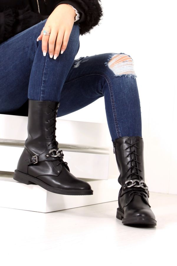 CAMILLE Black Lace Up Chain Boots