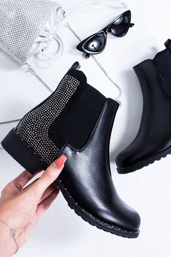 LYDIA Black Chelsea Boots With Silver Stud Detail