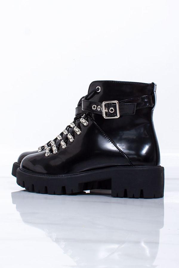 ALYSSA Black Matte Chunky Hiker Ankle Boots