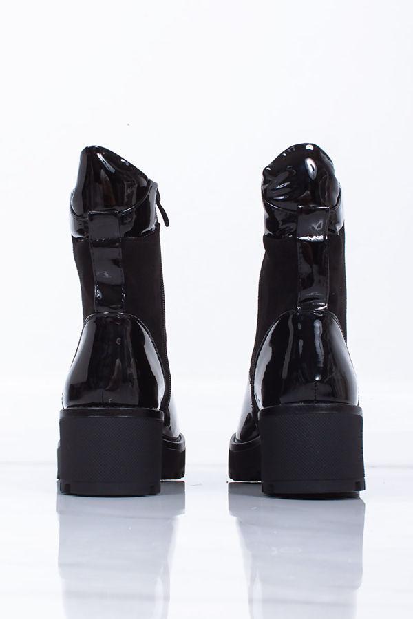 NINA Black Patent Chunky Hiker Boots