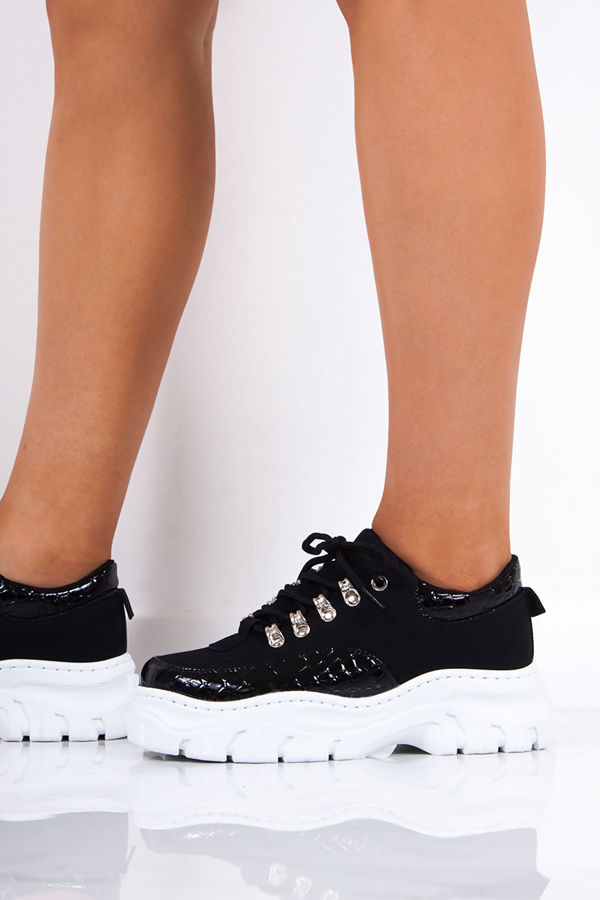 ELLE Black Snake Print Lace Up Chunky Trainers