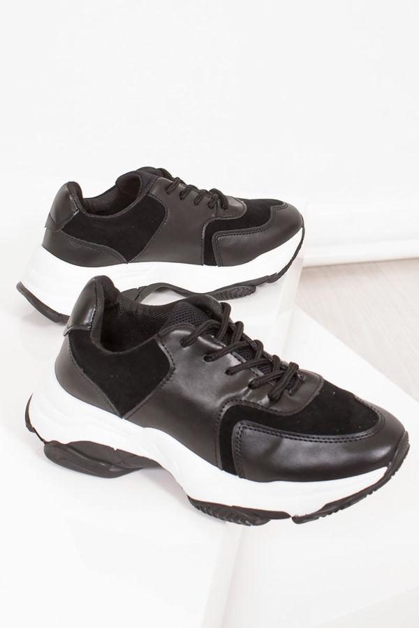 NINA Black Chunky Sole Trainers
